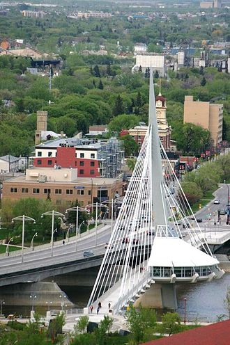 Side-spar cable-stayed bridge - Image: Esplanade Riel bridge Winnipeg, Manitoba