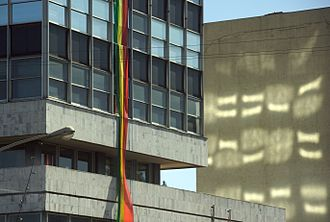 Ethiopian calendar - A building in downtown Addis Ababa, Ethiopia, sports bunting in the Ethiopian national colors of green, yellow and red to mark the Ethiopian Millennium on 11 September 2007.