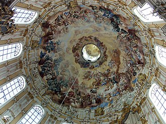 History of Catholic mariology - As an example of Baroque painting and architecture, Ettal Abbey:1776 Frescos under the dome, dedicated to the Assumption of Mary unite heaven and earth.