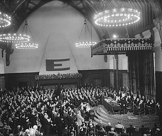 Congress of Europe - Meeting in the Hall of Knights in The Hague, during the congress (May 9, 1948)