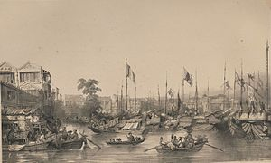 Puankhequa - Boats on the river outside the European factories, 1838