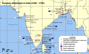 A map of the Indian subcontinent depicting the European settlements in India in the period from 1501 to 1739