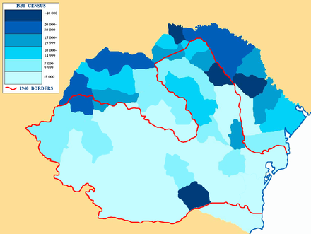 Jewish population per county in Greater Romania, according to the Wiesel Commission report, pp. 81, which counted 728,115 Jews by ethnicity and 756,930 Jews by religion EvRoMare1930.PNG