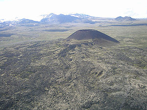 Volcanology of Canada - Eve Cone, one of the best preserved cinder cones in Canada.