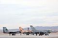 F-15C Eagle, Israeli F-16I and F-16 Fighting Falcon wait at the end of the runway at Nellis AFB during Red Flag 09-4.jpg