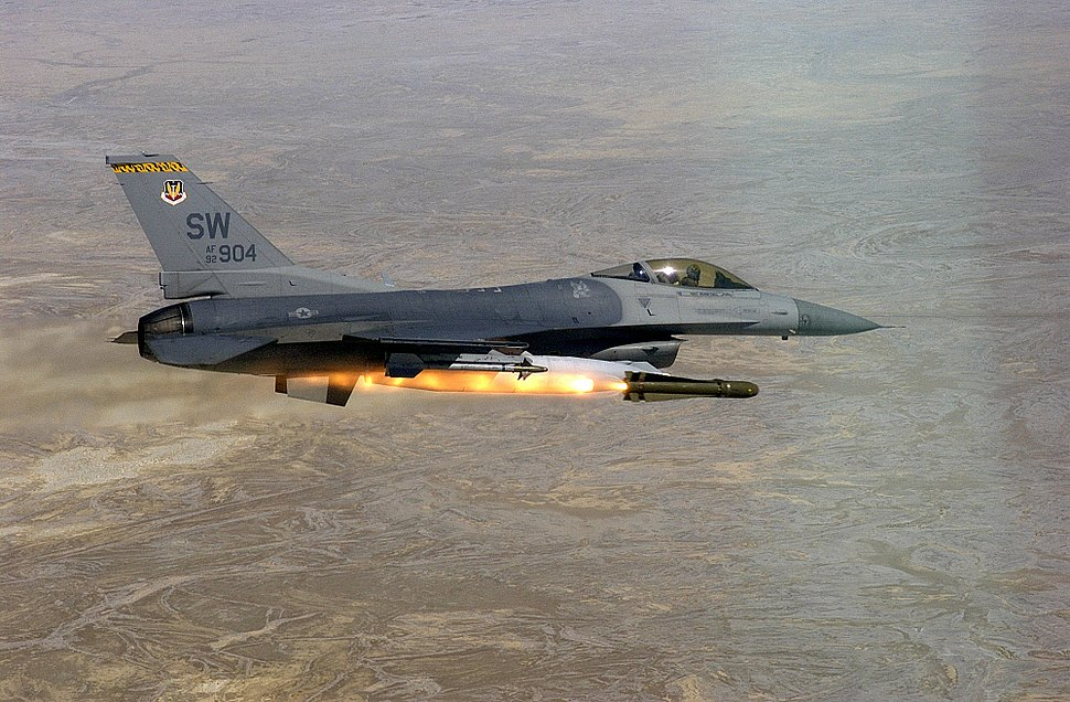 F-16 Fighting Falcon launching AGM-65D Maverick during Combat Hammer 2002