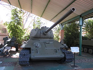 Operation Protea - FAPLA T-34-85, likely one of several captured during Protea. Several others were destroyed by Eland 90 or Ratel 90 armoured cars.