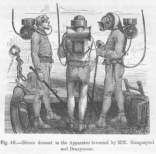 FMIB 49984 Divers dressed in the Apparatus Invented by MM Rouquayrol and Denayrouze
