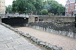 FORMER DOCK RETAINING WALLS TO MOAT AROUND JEWEL HOUSE, OLD PALACE YARD SW1 6.JPG
