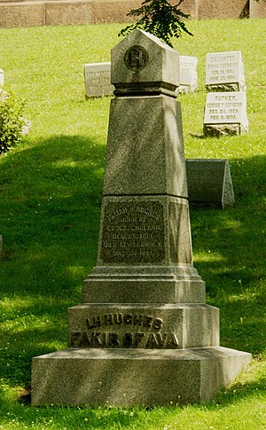 Fakir of Ava - The Fakir of Ava's grave, in Forest Lawn Cemetery, Buffalo