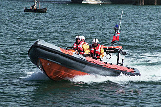 Rigid-hulled inflatable boat - RNLI inshore rescue boat during Falmouth Lifeboat Day, August 2006