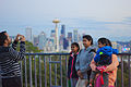 Family picture against the Seattle skyline at Kerry Park, evening of 2014-10-19.jpg