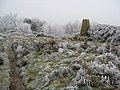 Farhill - A Frosted Footpath and Triangulation Pillar - geograph.org.uk - 1103247.jpg