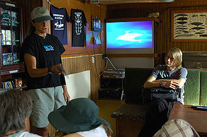 Sea Shepherd Conservation Society - A wildlife advocate during an education session on board RV ''Farley Mowat''.
