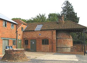 Kiln - Farnham Pottery, Wrecclesham, Surrey with the preserved bottle kiln on the right of photo