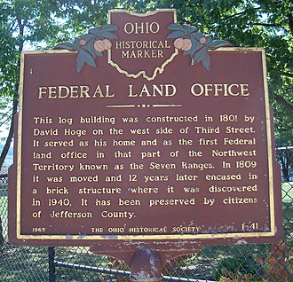 Federal Land Office (Steubenville, Ohio) - Image: Federal office marker