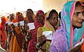 Female voters standing in a queue and waiting for their turn to cast vote at the polling booth of Bassi, in Jaipur, during the Rajasthan Assembly Election, on December 01, 2013.jpg