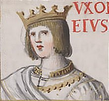 A miniature drawing of a European man with a crown