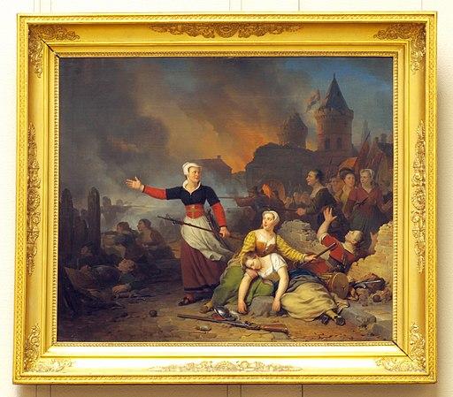 Ferdinand de Braekeleer (1792-1883), Kenau Simonsdr. Hasselaar tijdens het belg van Haarlem, 1829, Olievrf op doek