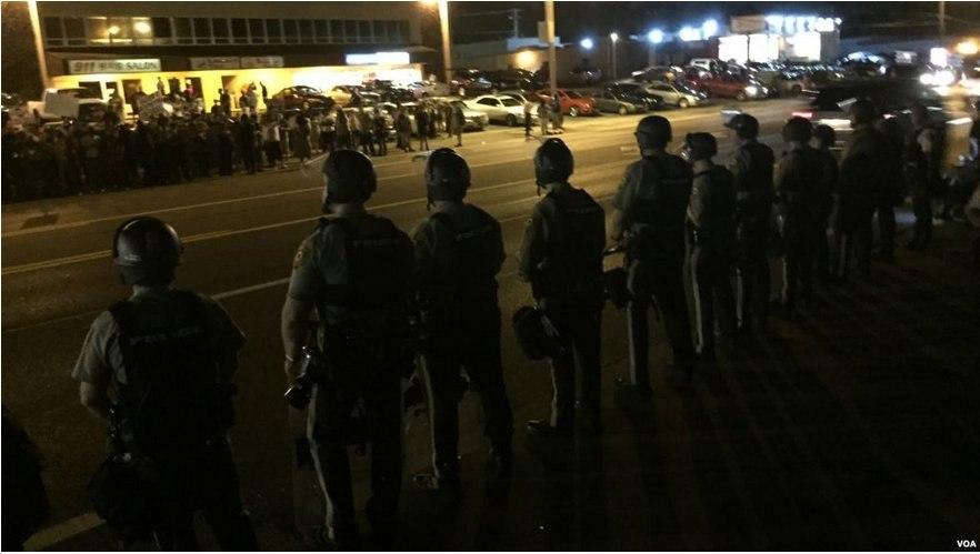 Ferguson police August 2015 VOA