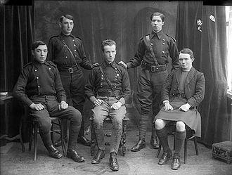Fianna Éireann - Fianna Éireann Council, 1915. Front row (left to right) Patrick Holohan, Michael Lonergan and Con Colbert. Back row (left to right) Garry Holohan and Padraig Ryan.