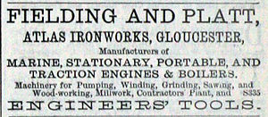 Fielding & Platt - Image: Fielding & Platt advert April 1870