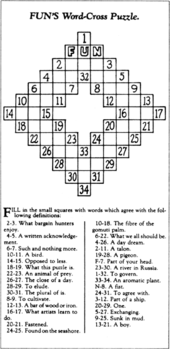 Recreation Of Arthur Wynnes Original Crossword Puzzle From December 21 1913