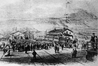 Cape Town Railway & Dock 0-4-2 - Arrival of the inaugural train at Wellington Station, behind a tender locomotive