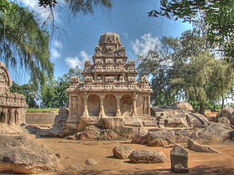 Group of Monuments at Mahabalipuram - Exterior of the Dharmaraja Ratha