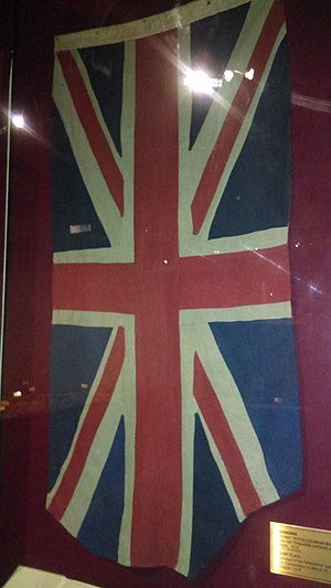 HMS Irresistible (1898) - A flag from HMS Irresistible, recovered and captured by Ottoman forces following the ship's sinking, displayed at the Istanbul Military Museum.