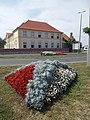 Flower bed and R.C. School (Est. 1926), 2018 Mezőkövesd.jpg