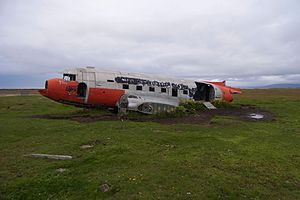 Þórshöfn Airport - The wreck of the DC-3 is nowadays used as a sheep and horse shelter on private land