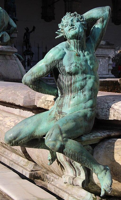 Giambologna e Bartolomeo Ammannati, Fontana del Nettuno (dettaglio satiro del Giambologna), Piazza della Signoria, Firenze