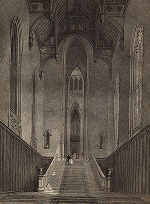 Fonthill Abbey - The Abbey's hall (Rutter, 1823)