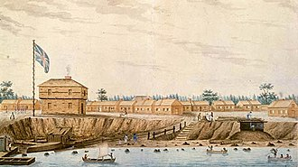 Fort York - Fort York in 1804. The Fort was built just west of the mouth of Garrison Creek on the north western shore of Lake Ontario.