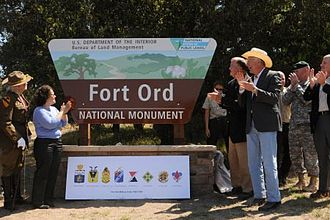 Fort Ord - US Department of the Interior Secretary Ken Salazar unveils the Fort Ord National Monument sign.