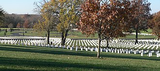 National Register of Historic Places listings in Bourbon County, Kansas - Image: Fort Scott National Cemetery, SW from lodge 2