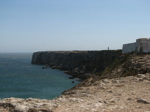 Vila do Bispo - The End of the World, the edge of the Cape of Saint Vincent, showing a portion of the Fortress of Sagres