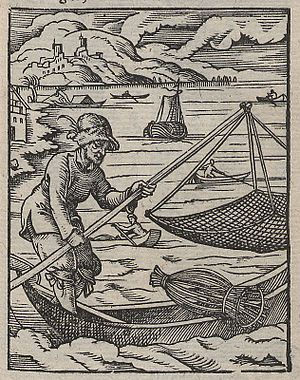 Hand net - Image: Fotothek df tg 0002117 Ständebuch ^ Fischer ^ Reuse