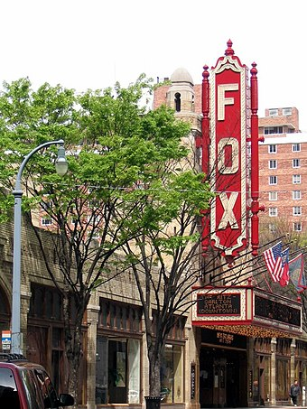 The Fox Theatre is a performing arts venue located in Midtown Atlanta, and is the centerpiece of the Fox Theatre Historic District. Fox Theater - Atlanta, Georgia.jpg