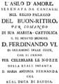 Francesco Corselli - L'asilo d'Amore - titlepage of the libretto - Madrid 1750.png