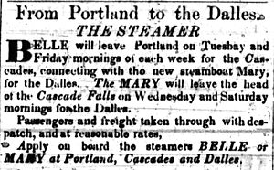 Belle of Oregon City - Image: Franklin (steamboat) ad Feb 1855