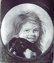 Head of a boy with a dog