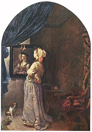 Frans van Mieris (I) - Woman before the Mirror...