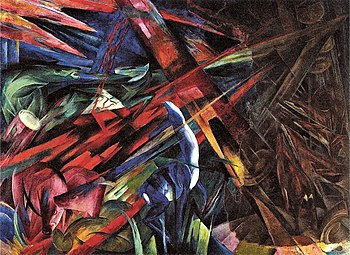 Franz Marc, The fate of the animals, 1913, oil on canvas. Displayed at the exhibition of Entartete Kunst in Munich, Nazi Germany, 1937.
