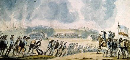 1793年、フランス西部でのヴァンデ王家反逆者の大量砲撃