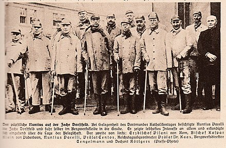 Future Pope Pius XII goes hiking in 1927 Germany Future Pope Pius XII visits Dorstfeld Mines in 1927 Germany.jpg
