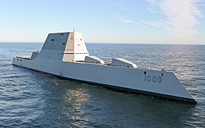 Zumwalt-class destroyer - Image: Future USS Zumwalt's first underway at sea