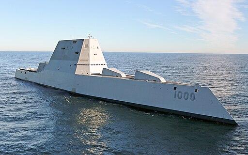 Future USS Zumwalt's first underway at sea