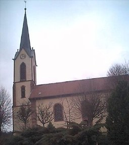 Gunsbach parish church, where the later recordings were made GunsbachKirche.jpg